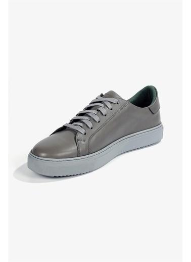 Krähe Corbeau Gri Deri Minimal Sneaker Gri